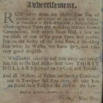 Advertisement regarding runaway slave, Colchester, 1753