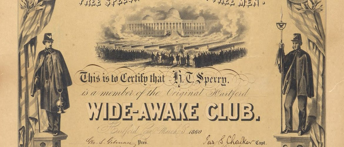 Wide-Awake Club certificate, 1860