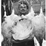 Puerto Rican man with chickens, Hartford, 1957