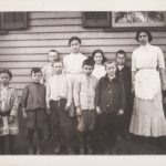 Teacher and puils, Mill School, Avon, ca. 1900