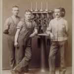 Workmen with machine, 1885