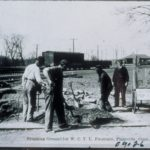 Breaking ground for the Women's Christian Temperance Union fountain, Plainville, 1930s