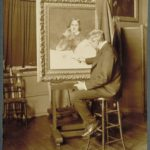 Charles Noel Flagg at his easel, Hartford, ca. 1915