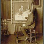 Charles Noel Flagg at his easel, Hartford, ca. 1915