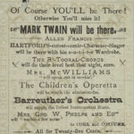 Broadside advertising Mark Twain and others performing at Music Hall, 1881