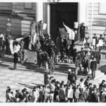 Puerto Rican demonstrators on steps of City Hall, Hartford, 1970