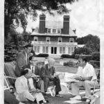 Governor Ribicoff and reporters, Hartford, 1955