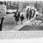 Segregation picket line, Noah Webster School, Hartford, 1860s