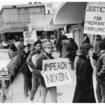 "United Farm Workers with ""Impeach Nixon"" sign, Hartford, 1974"