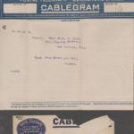 Luther Parker cablegram to his parents, 1918