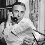 Governor Ribicoff with telegram relating to drought, 1957